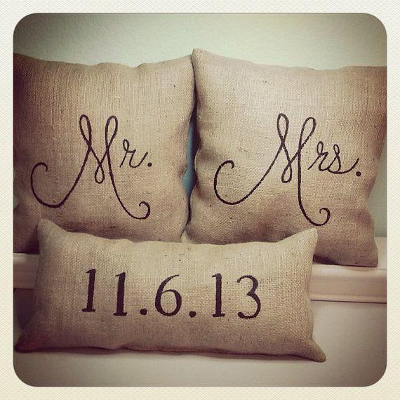 Mr. Mrs. Burlap Stuffed Pillows with Date by 2CuteCrafts4U, $46.00