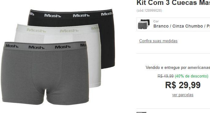 Kit Com 3 Cuecas Mash Boxer Cotton Liso << R$ 2399 >>