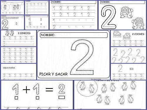 Fichas para aprender y repasar el Número Dos, aprender, trabajar la grafomotricidad y lectoescritura con el número dos, contar, dibujar y co...