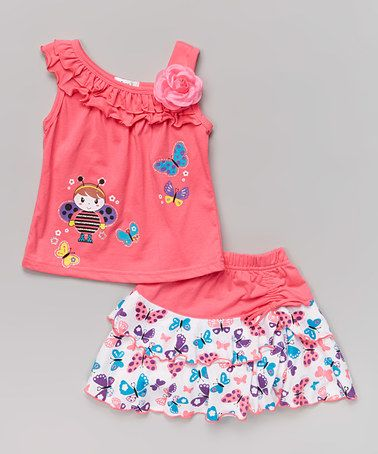 Love this Pink Bee Tank & Butterfly Skirt - Toddler & Girls by Littoe Potatoes on #zulily! #zulilyfinds
