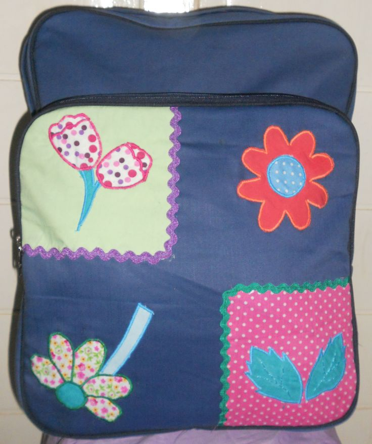 backpack unique named season made from jeans with application patchwork made from cotton