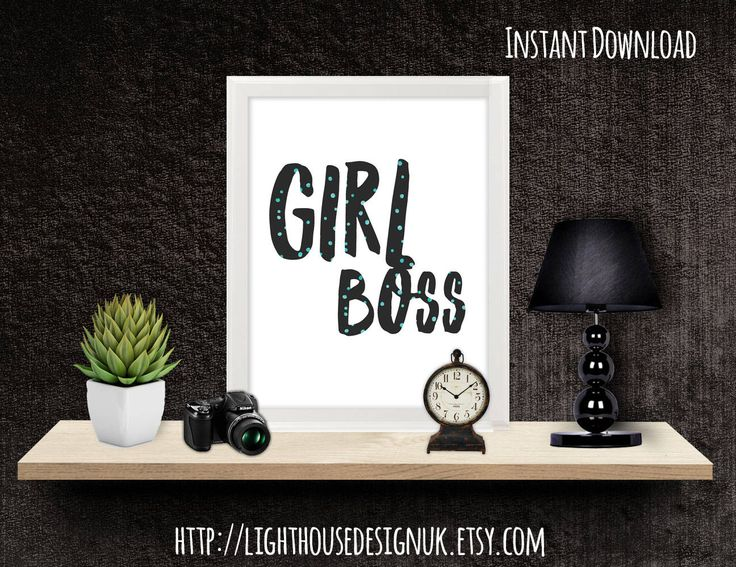 Girl Boss Wall Print - Instant Download  This digitally designed piece of wall art will be available to you as INSTANT DOWNLOAD after purchase. Etsy will email you a link to download your purchase.  You will recieve the following:  - A4 print in PDF format - A5 print in PDF format  - Full printing instructions.   All printing files are ready to print and with easy to follow instructions.    Size - A4 (approx 8.3 x 11.7 in) & A5 (approx 5.8 x 8.3 in)  PLEASE NOTE - no physical items will b...
