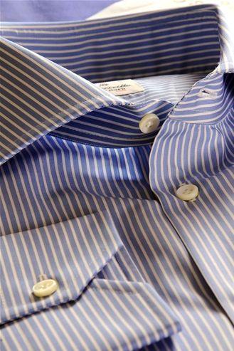 Striped Shirt, Colour Blue, Button Down Shirt for Men, 100% Pure Cotton Fabric, Made to Measure Shirt - $156