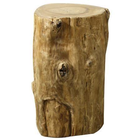 Rustic Decor Teak Wood Tree Stump Stool High, Natural - Harrington Galleries