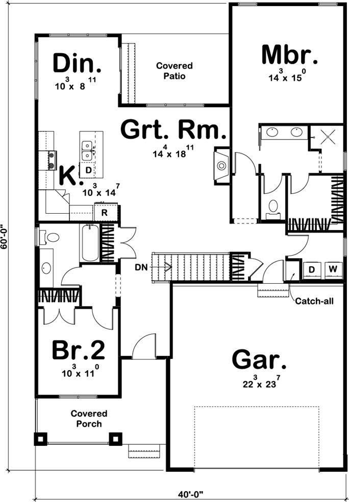 Prairie style small house: 1440 sq ft 100-1205: Floor Plan Main Level