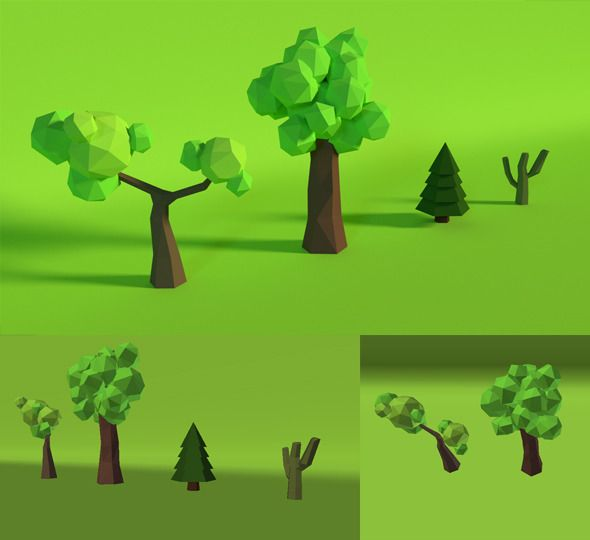 LowPoly Trees .Pack4