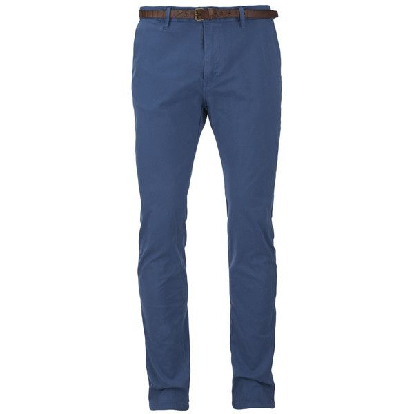 Scotch & Soda Men's Garment Dyed Slim Fit Chinos With Belt - Worker... ($65) ❤ liked on Polyvore featuring men's fashion, men's clothing, men's pants, men's casual pants, menswear, pantalones hombre, blue, mens chino pants, men's 5 pocket pants and mens blue pants