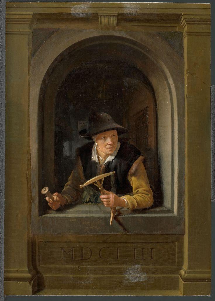 Gerrit Dou: vrouw in een venster met een haspel en een klos garen in haar handen (Vissersvrouw). 1653. Rijksmuseum, Amsterdam.