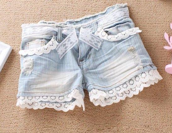 DIY lace shorts. DIY lace shorts. DIY lace shorts.