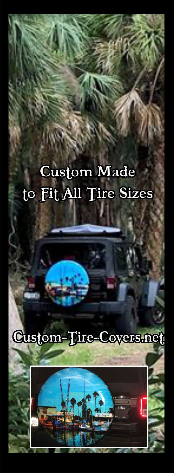 Custom spare tire cover. Tire Cover Central makes all size tire covers to fit your exact spare tire size.