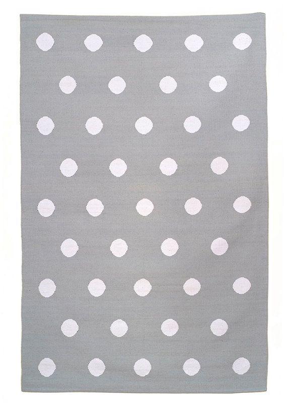 GREENICH RUG 4x6 grey and white polka dot cotton dhurrie rug area rug