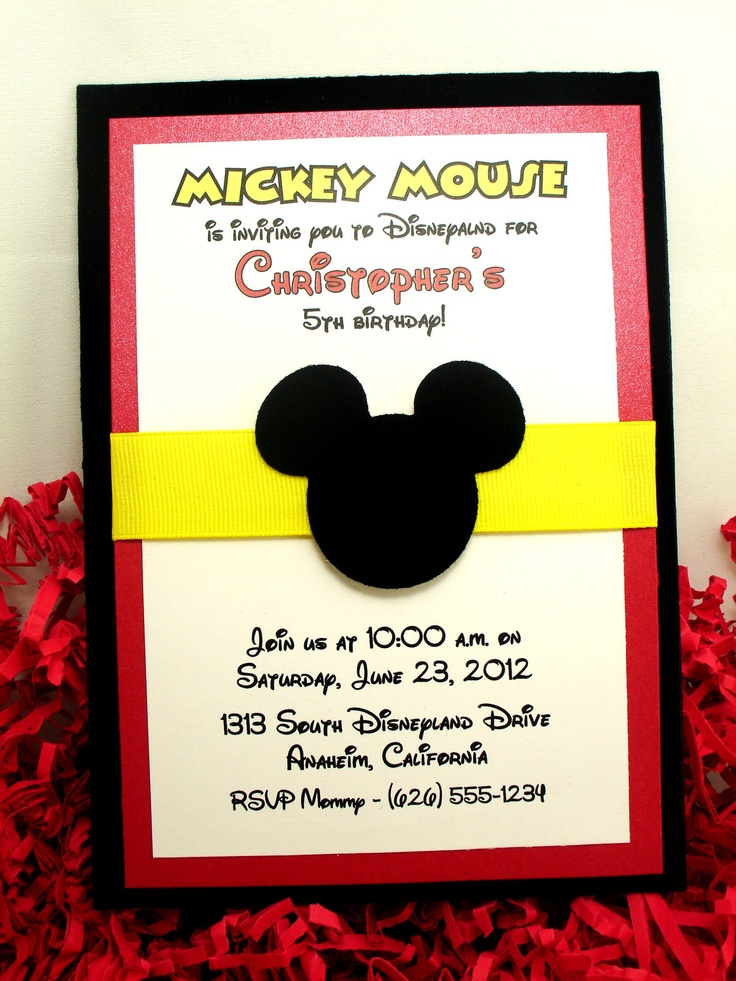 12 best mickey invite images on Pinterest | Handmade invitations ...