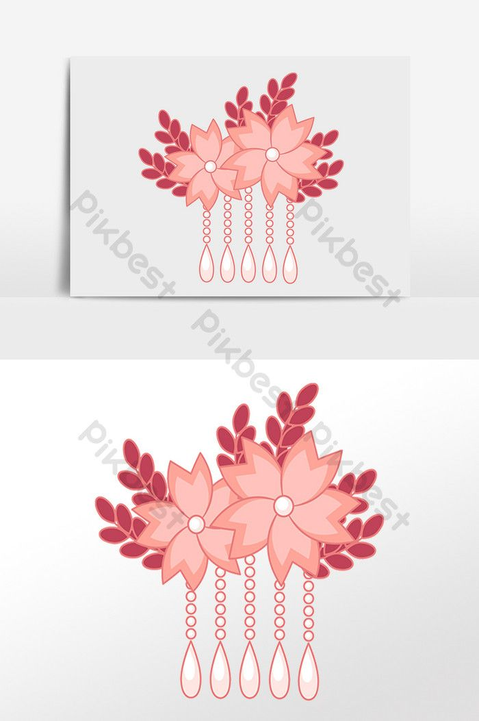 Cartoon Ancient Pink Flower Hair Accessory Pikbest Graphic Elements