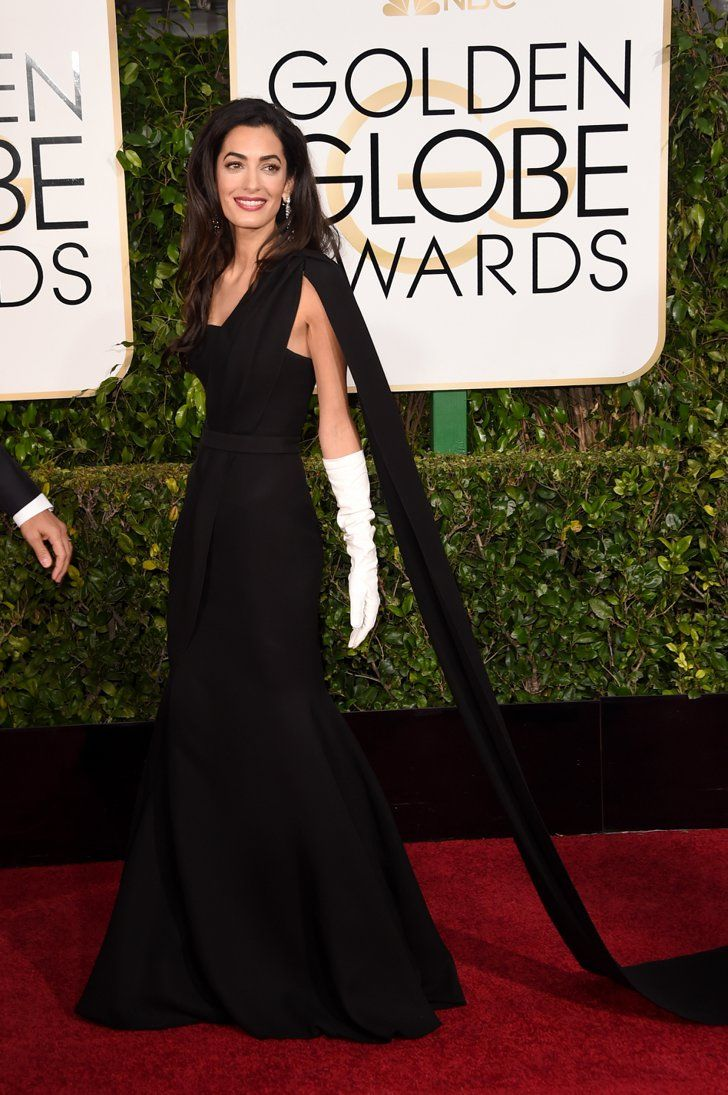Black gloves for gown - Pin For Later Poll Amal Alamuddin Channels Old Hollywood At The Golden Globes We