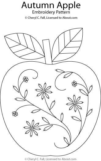 Hand Embroidery Patterns Free Printables | Autumn Apple Embroidery Pattern - Apple Hand Embroidery Pattern