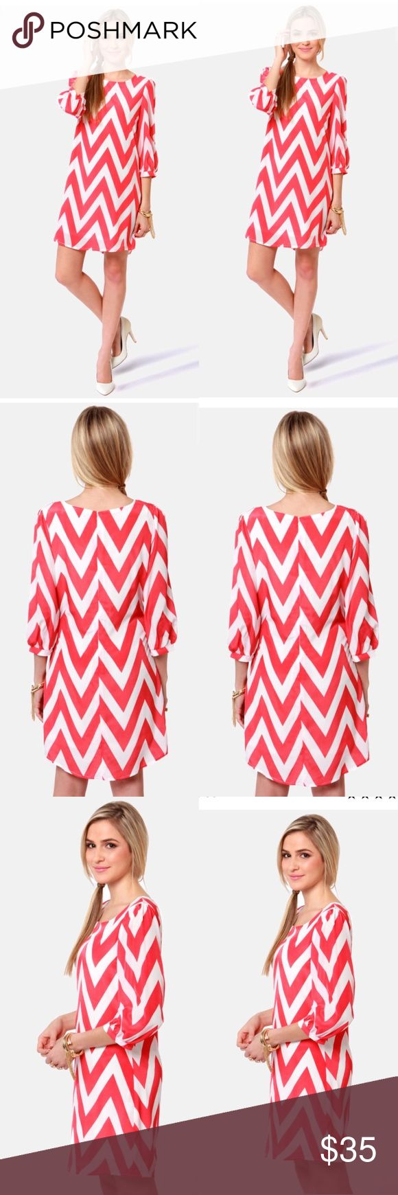 •{ l u l u s }• Looks like your luggage just got lighter since all you need is the Pack Your Zigzags Coral Pink Chevron Print Dress! This dress does it all, from casual to cocktail hour, with alternating zigzag stripes in ivory and coral pink. Shift bodice has a bateau neckline and three-quarter sleeves that gather at the cuffs. Bodice is lined. Hidden back zipper. Model is wearing a size small. 100% Polyester. Hand Wash Cold. Imported. Lulu's Dresses Long Sleeve