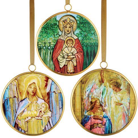 Louis C. Tiffany Virgin Mary Christmas Ornament Set