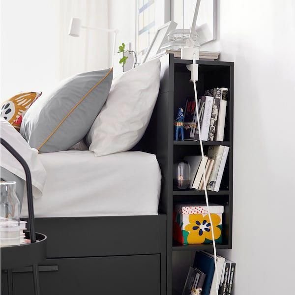 Pin By Dana Ekatherin On Beds In 2020 Headboard Storage Bed Frame With Storage Black Headboard