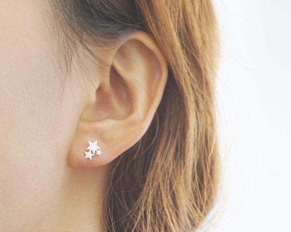 Lea und Kate zarten Schmuck _ immer mit Liebe das ist kleiner silberner Stern Ohrringe, dreifach Sternen und Ohrstecker Galaxie. machen, einen