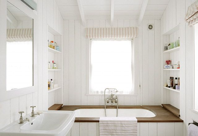 Beach Cottage Bathroom Simple Cream Amp White Open