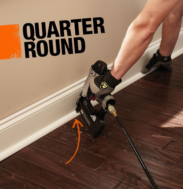 Quarter round is a small piece of moulding that gives a polished look to where the floor material and base moulding meet. It's in a convex shape that is a quarter of a circle, and it's usually the final step when completing a flooring project.