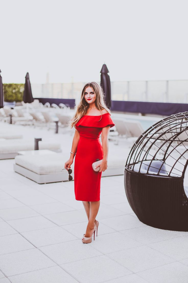 #OOTD // Date Night on the WP24 Rooftop in a Red Off-the-Shoulder Dress | #ad…