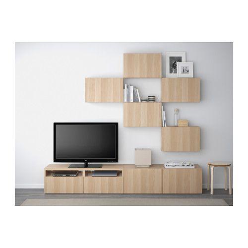 BESTÅ TV storage combination - Lappviken white stained oak effect, drawer runner, soft-closing - IKEA