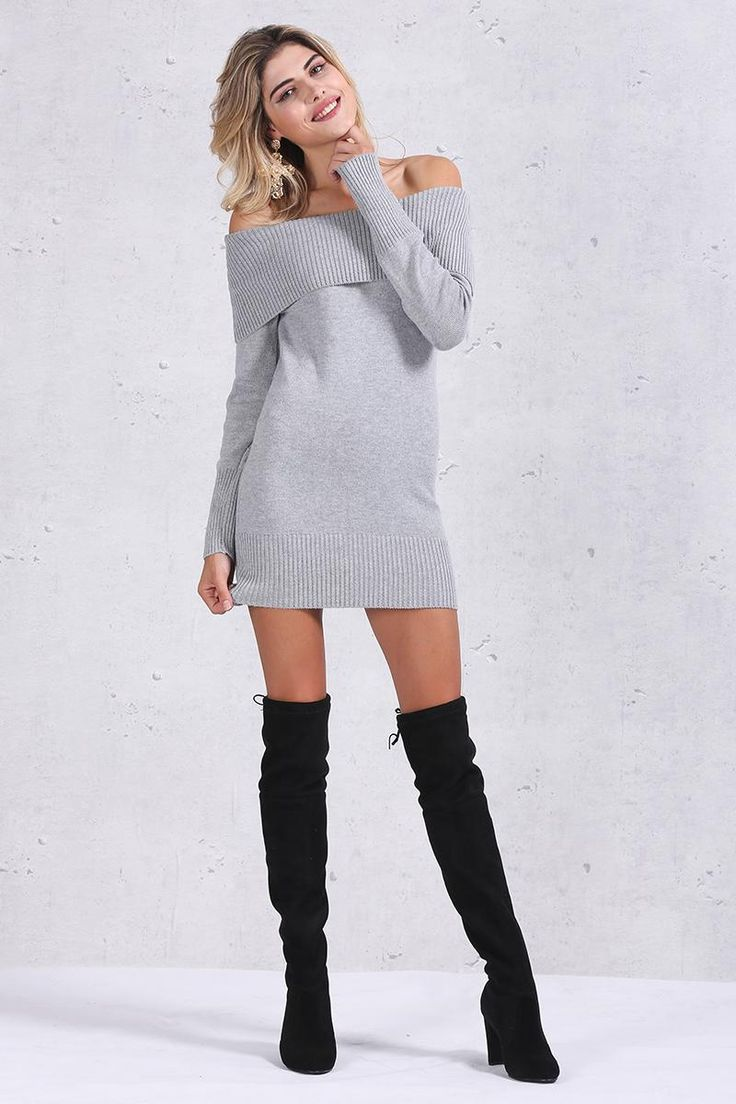 Lengthy Sleeved Off Shoulder Knitted Bodycon Costume