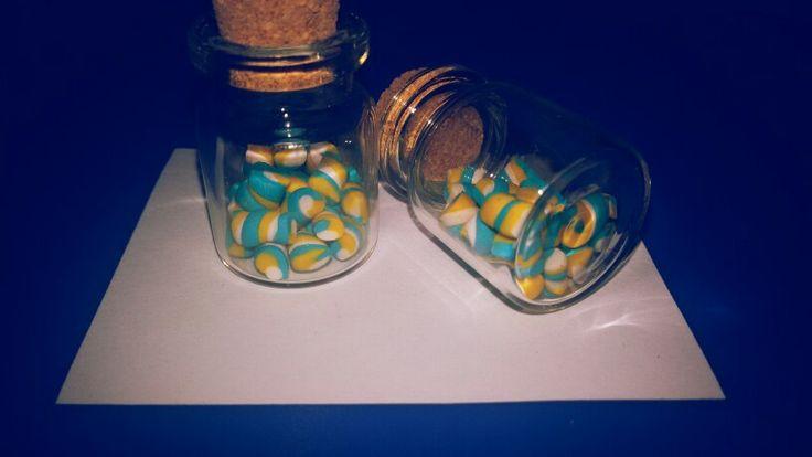 Collana boccetta dolcetti caramelle catenina filo d'angelo ordina fimo fatto a mano