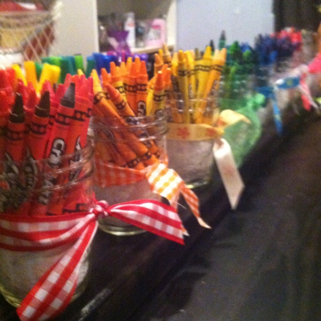 Crayon in a jar! For all of the kids that will be at my wedding :) Cause I know there will be alot!