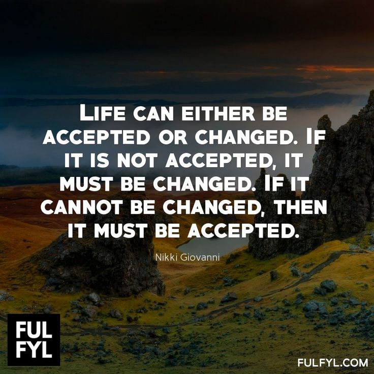 Life can either be accepted or changed. If it is not accepted, it must be changed. If it cannot be changed, then it must be accepted.	Nikki Giovanni