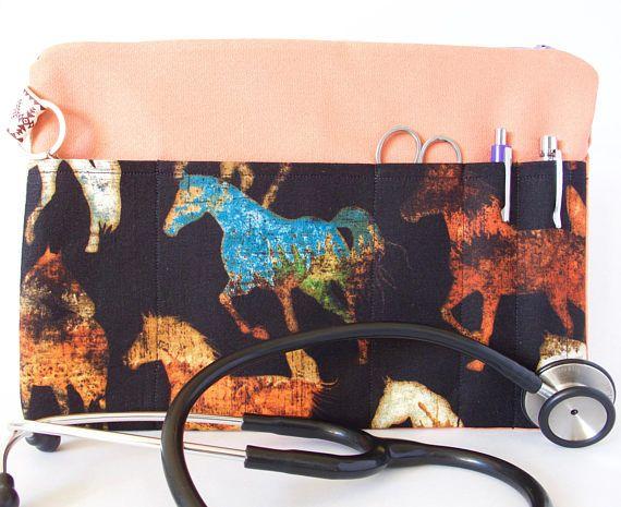 HORSES Stethoscope Pouch. Horses Bag. Vet Tech Pouch. Vet