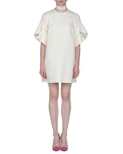 6e487ed3599 B445J Fendi Short-Sleeve Tie-Neck Gazar Dress | Other / Luxury