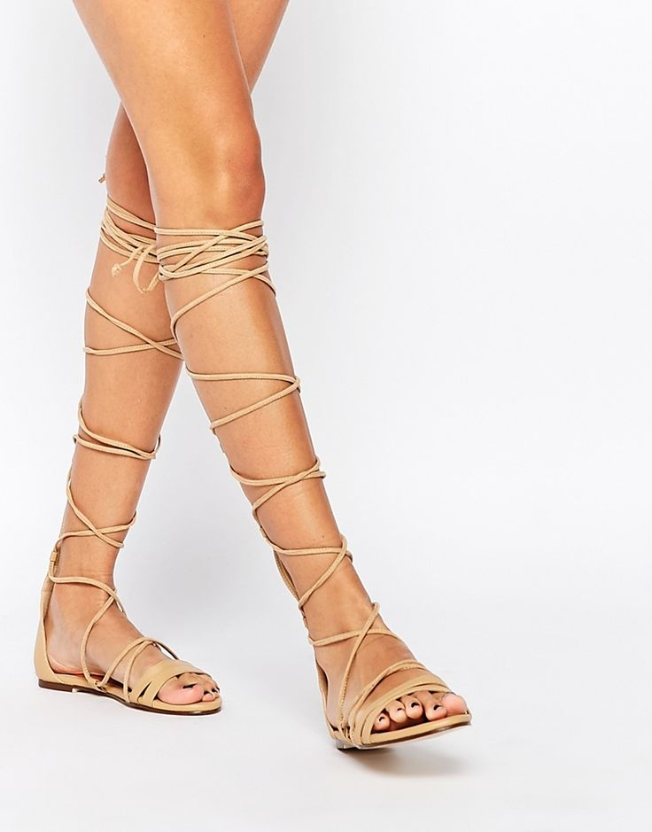 Image 1 of Daisy Street Lace Up Gladiator Flat Sandals