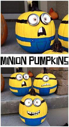 So Süß: Minion Kürbisse! Tolle Idee für eine Halloweendeko für Kinder. /// So Cute: Minion Pumpkins (Fun paint decorating craft for kids this Halloween!)