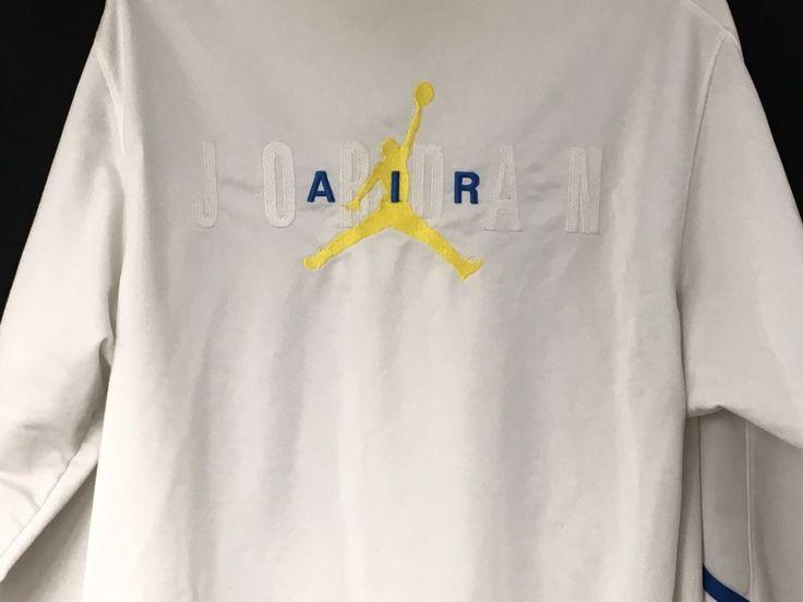 NIKE AIR JORDAN Sz Large Long Sleeve Zippered Front Track/Sweat Jacket White #Nike #TrackJacket