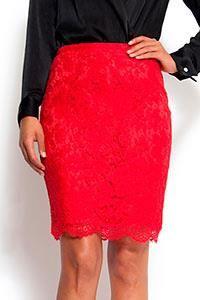 Красная гипюровая юбка