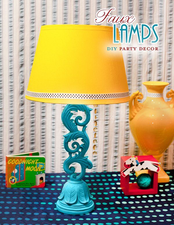 """Here's an easy tutorial for faux """"Table Lamps"""" that can be used as themed table centerpieces or accent party decor. They're made from pillar candle stick h"""