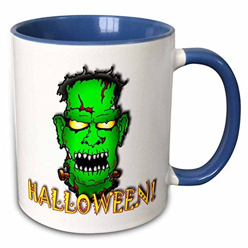 Mark Grace HALLOWEEN monsters - FRANKENSTEIN halloween 2 on white - 11oz Two-Tone Blue Mug (mug_53349_6) @ niftywarehouse.com #NiftyWarehouse #Frankenstein #Halloween #Horror #HorrorMovies #ClassicHorror #Movies