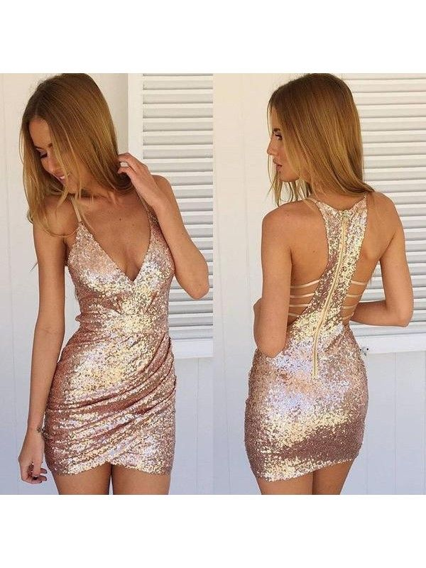 Short Sequins Homecoming Dresses V Neck Mini Sexy Cocktail Dresses ItemHnw0028