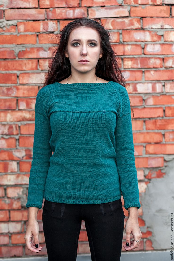 Купить базовый свитер цвета морской волны - морская волна, однотонный, мягкий свитер