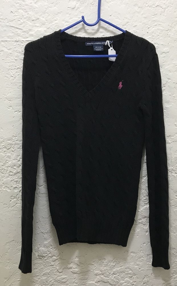 2e4193f0f76 Ralph Lauren Sport Women s Black V-Neck Cable Knit Sweater Size Small Pink  Logo  fashion  clothing  shoes  accessories  womensclothing  sweaters (ebay  link)