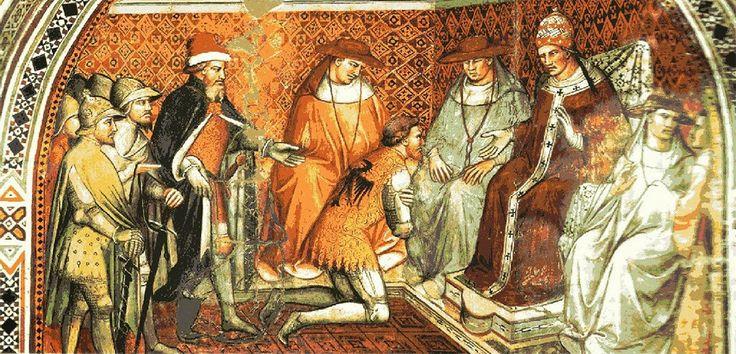 Спинелло Аретино. Фридрих Барбаросса подчиняется власти папы римского Александра III. Фреска в Палаццо Публико, Сиена