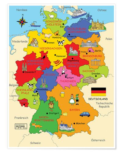 Poster German states for children Travel Pinterest