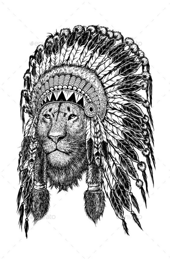 Image result for lion indian headdress tattoo Tatuagem