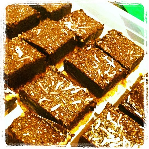 Freshly made insanity! Supercube of intense raw cacao ganache on a coconut crumble. What a treat!