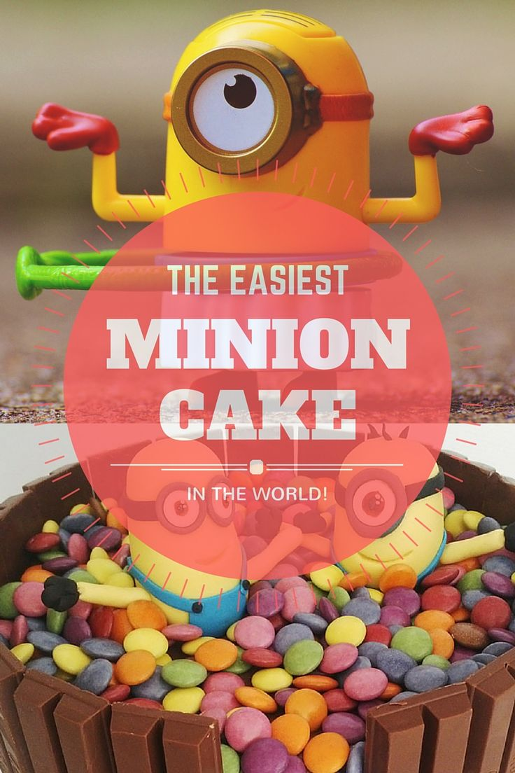 The easiest and most impressive Minion Cake in the world! Looking to bake a themed cake? This fits just about any theme and your kids will love it! #Minioncake #baking #Recipe