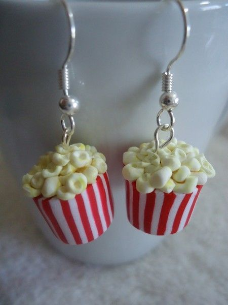Popcorn Earrings.... i would wear these every time I go to the movies!