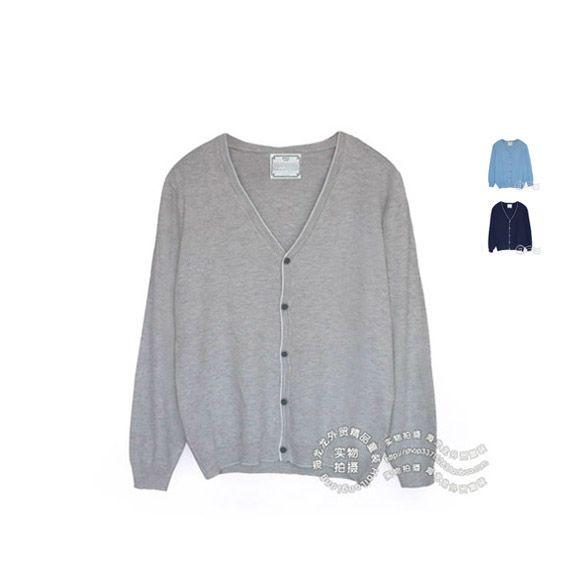 Корейские семьи установлены подростки мальчиков свитера вязать кардиган осень нового хлопок случайных V-образный вырез свитера - Taobao