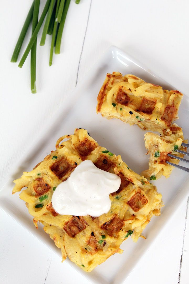 parsnip waffles - made with basil, parmesan instead of chives.  tasty, but i like the noodles by themselves instead of waffle form!  also, waffles held together best towards the beginning of the batch